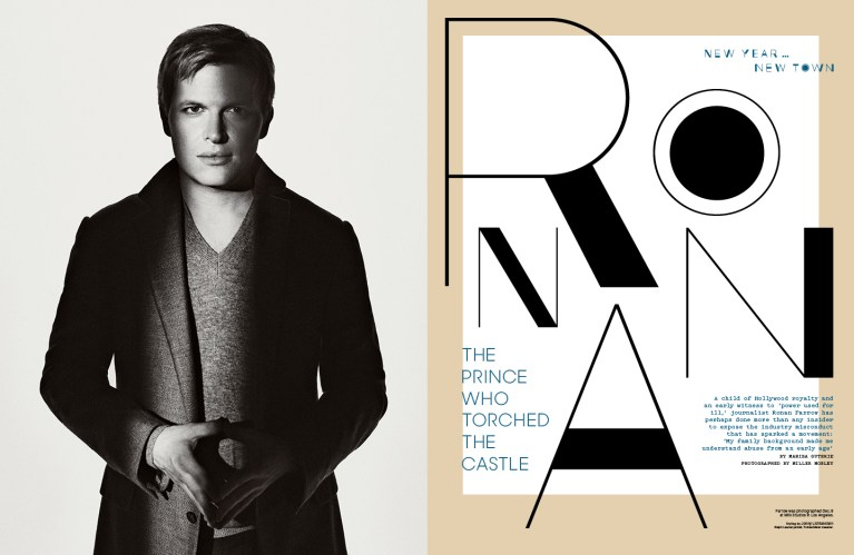 Ronan Farrow / The Hollywood Reporter / 1.10.18 / kelsey stefanson / art direction + graphic design / yeskelsey.com