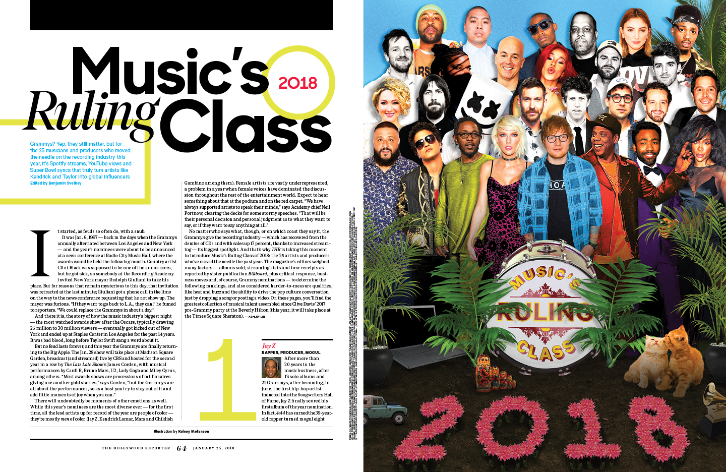 Music's Ruling Class / The Hollywood Reporter / 1.25.18 / kelsey stefanson / art direction + graphic design / yeskelsey.com