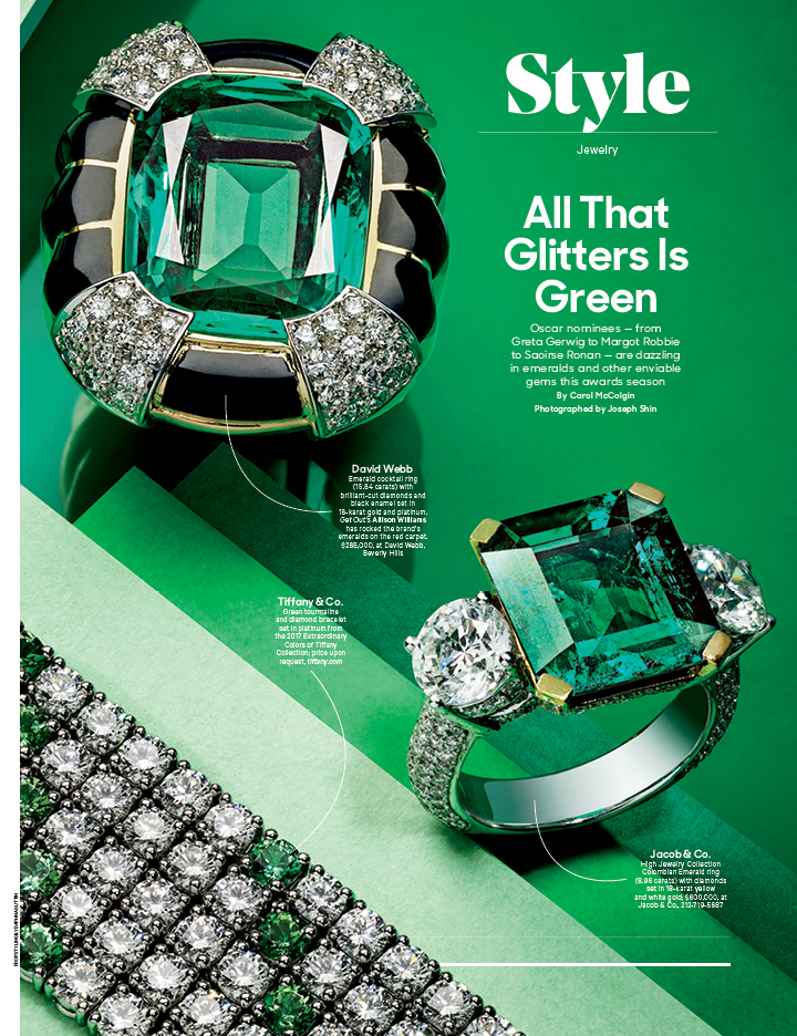 All That Glitters Is Green / The Hollywood Reporter / 1.31.18 / kelsey stefanson / art direction + graphic design / yeskelsey.com