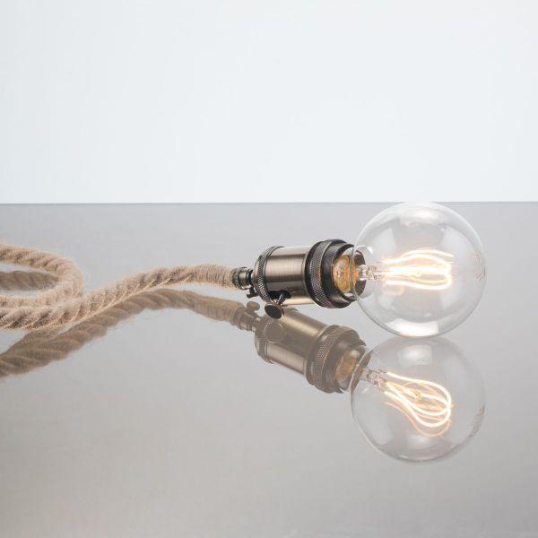 lampe de créateur cordon électrique cordage jute douille interrupteur laiton applique ou lampe à poser à suspendre à accrocher bord de mer industrielle fabriqué en france