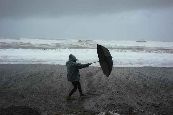 unrecognizable person with umbrella on beach