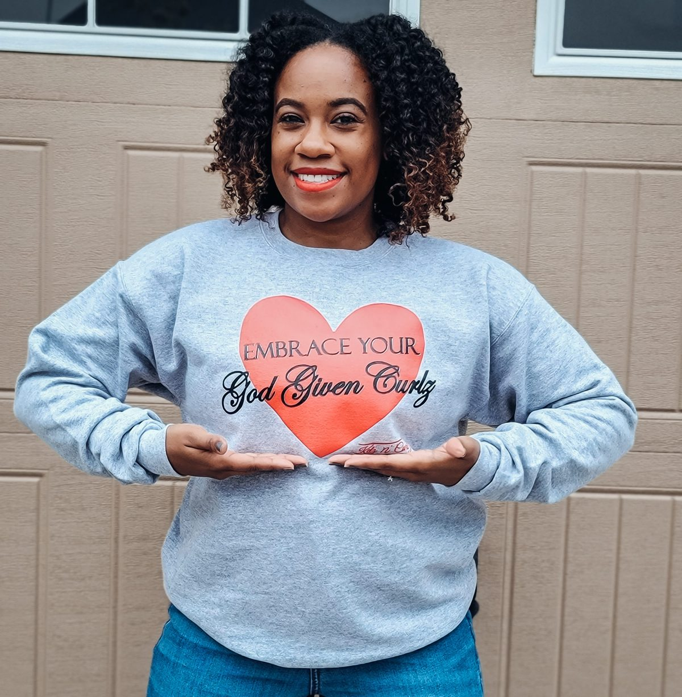 Embrace Your God Given Curlz Crewneck Sweatshirt (Gray)
