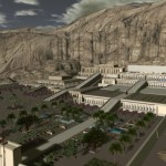 birdview of the 3D model of Dayr al-Bahri