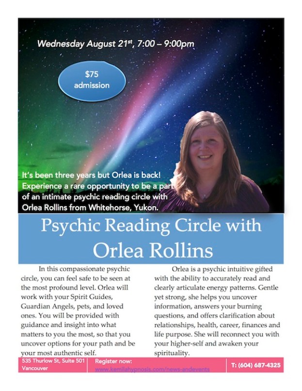 Psychic Reading Circle in Vancouver with Orlea Rollins