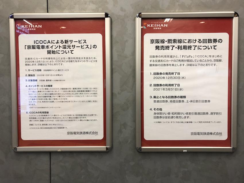 京阪の駅に貼り出されていた回数券発売・利用終了とポイント還元サービスのお知らせ(2020年12月撮影)
