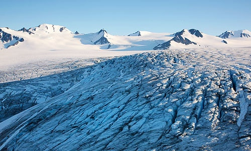 A view of the Harding Ice Field which is part of our Glacier Hiking and Climbing Adventure