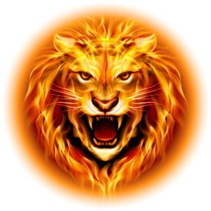 A burning roaring lion