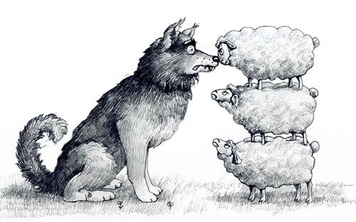 Three sheep ganging up on a dog