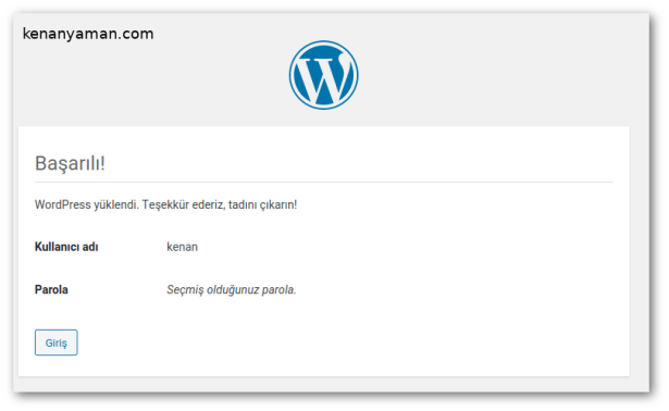 wordpress site information completed successfully