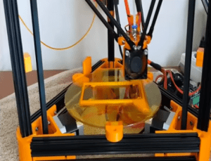 MakerGeeks Mini Kossel 3D printer is made from a DIY kit