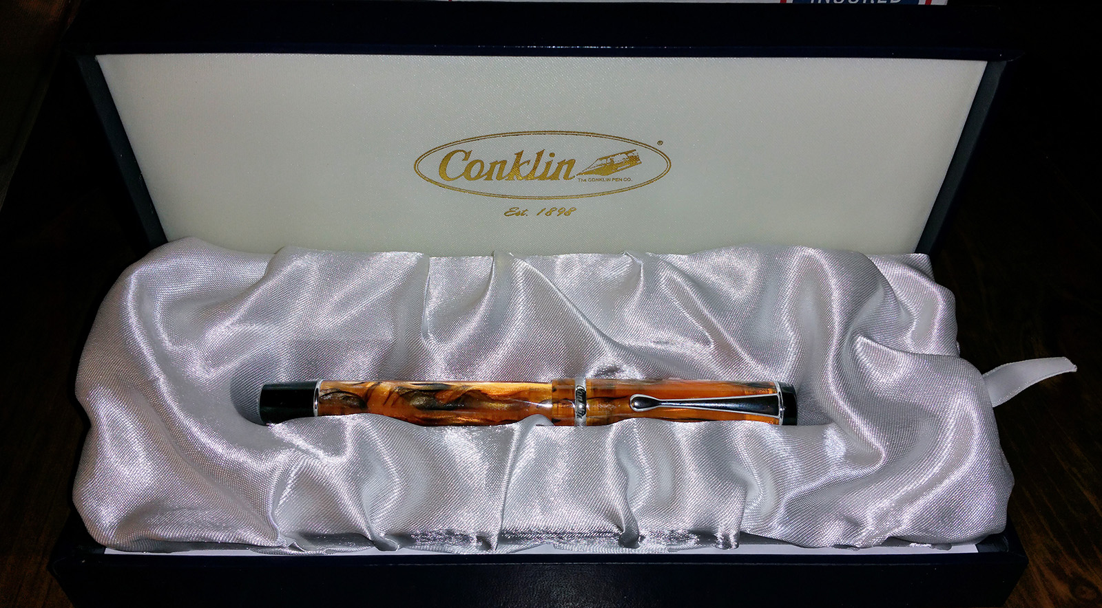 Conklin Duragraph Fountain Pen, Amber, In Box