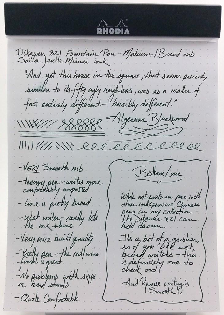Dikawen 821 Fountain Pen Writing Sample using Sailor Jentle Miruai ink, on a Rhodia Dotpad #16