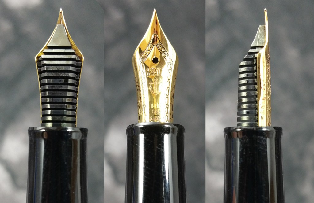 Three views of the Sailor 1911 Standard Fountain Pen Nib, the underside showing the feed, the top of the nib, and a side view showing the profile of the nib and feed