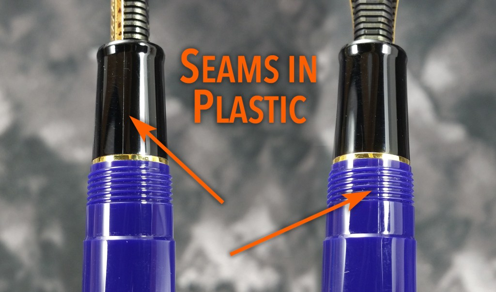 Close-up shots of the seams found in the Sailor 1911 Standard Fountain Pen section and barrel