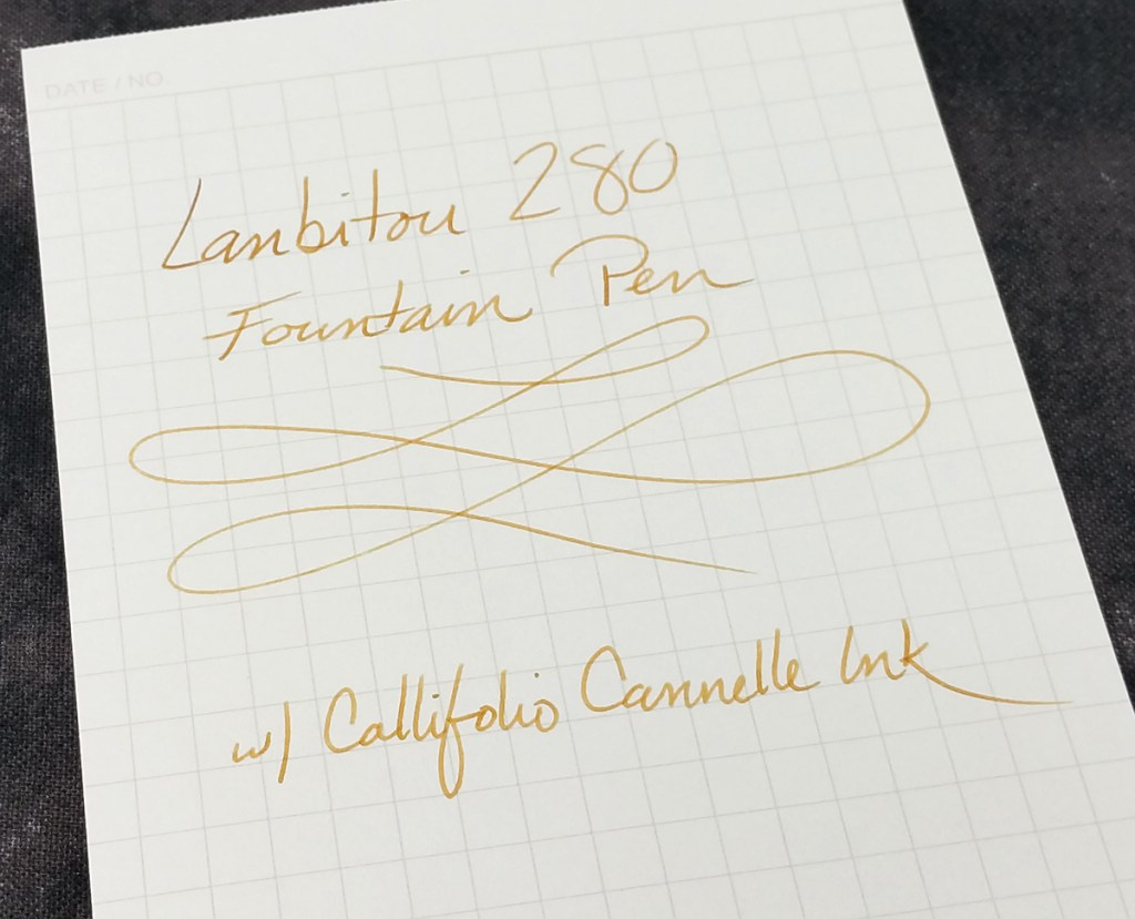 Lanbitou 280 Fountain Pen Writing Sample on Maruman Mnemosyne paper using Callifolio Cannelle ink