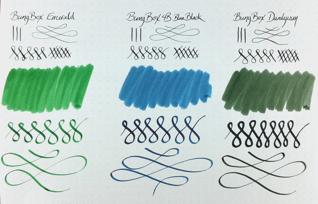 Quick Look: Bung Box Inks, showing swatches and writing samples with Norwegian Wood / Emerald, 4B Blue Black, and Dandyism