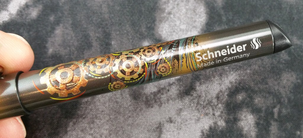 "Schneider Glam Fountain Pen barrel, showing off its ""Cog Wheel"" screen-printed pattern"