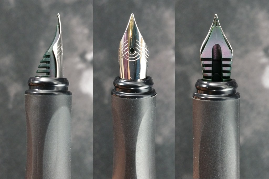 Three views of the Schneider Glam Fountain Pen Nib, including a side view with the feed, the top view showing the nib design, and the underneath view with the feed