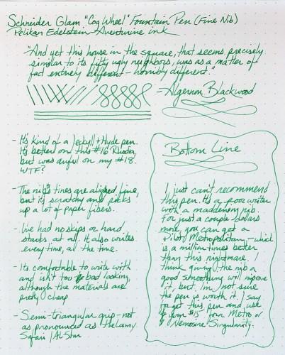 A full Writing Sample for the Schneider Glam Fountain Pen using Pelikan Edelstein Aventurine ink