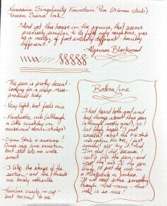 Nemosine Singularity Fountain Pen Writing Sample using Toucan Siena ink on Rhodia #16 DotPad paper
