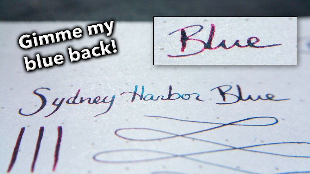 Writing sample of Blackstone's Sydney Harbor Blue ink, which doesn't look very blue at certain angles. Without the sheen, it would be an amazing color.