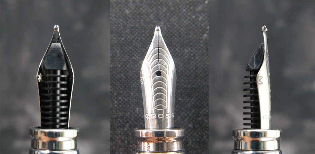 The Cross Dubai Fountain Pen Nib shown from three angles: from the bottom showing the feed, from the top showing the stamped design and Cross name, and from the side