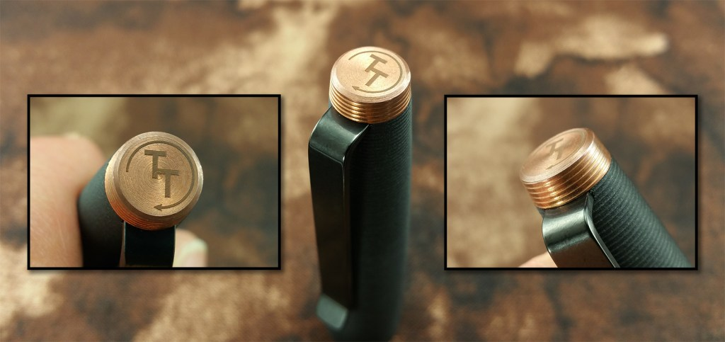 The Tactile Turn Gist Fountain Pen Finial from three angles, showing the Tactile Turn logo on the end surface and the groove pattern on the side