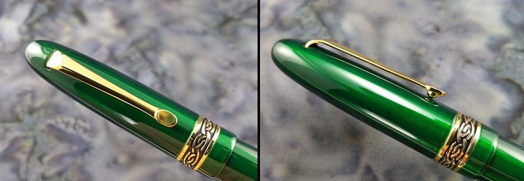 Italix Parson's Essential Fountain Pen cap, showing the clip from both straight-on and side views