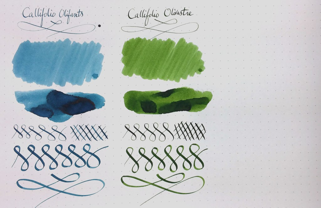 Sample of Callifolio inks: Olifants and Olivastre
