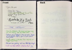 Writing samples on the Greenroom Recycled Notebook paper, showing both the front and back of the paper (pens used: Sharpie pens and Brush pens)