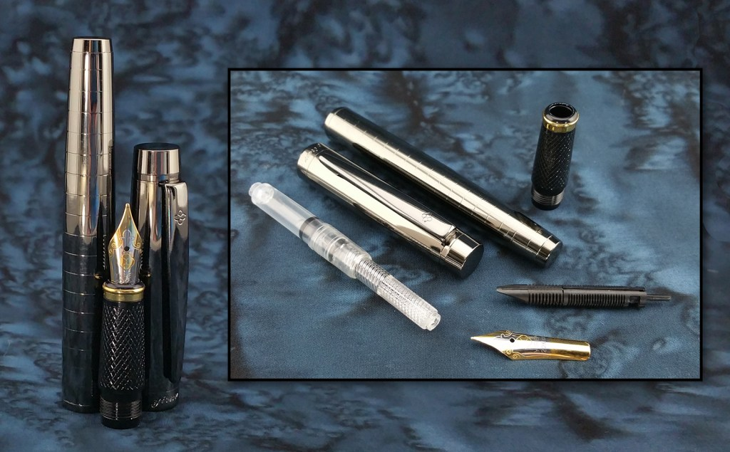 Yiren 856 Fountain Pen Disassembled, the main image shows the barrel, cap, and nib unit standing next to each other; the inset image shows the pen completely disassembled
