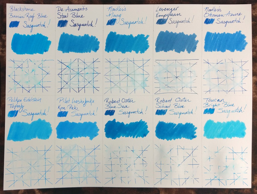 A comparison of ten medium blue fountain pen inks (Blackstone Barrier Reef Blue, De Atramentis Steel Blue, Noodler's Navy, Levenger Empyrean, Noodler's Ottoman Azure, Pelikan Edelstein Topaz, Pilot Iroshizuku Kon-Peki, Robert Oster Blue Sea, Robert Oster School Blue, Toucan Bright Blue). Samples include writing from a glass dip pen, cotton swab, and lined grid for the water test. This image shows the ten samples after the water resistance test.