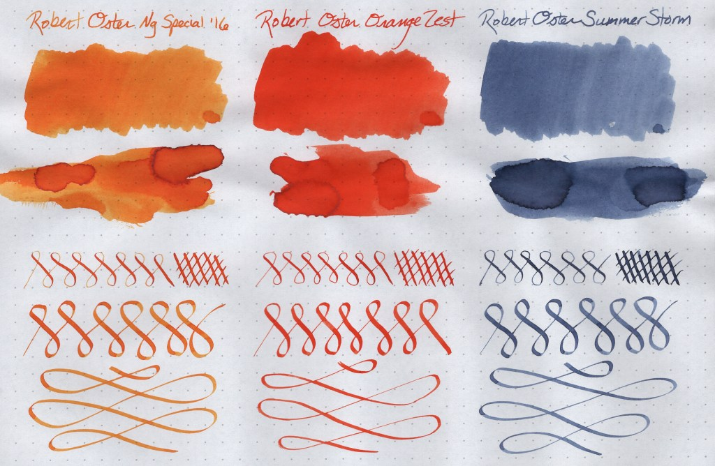 Robert Oster Signature Ink Samples (Ng Special '16, Orange Zest, Summer Storm). Image is scanned. Samples are created on Rhodia Dot Grid paper using a Blue Pumpkin dip nib, a Speedball C-4 Calligraphy nib, cotton swabs, and a paint spatula.
