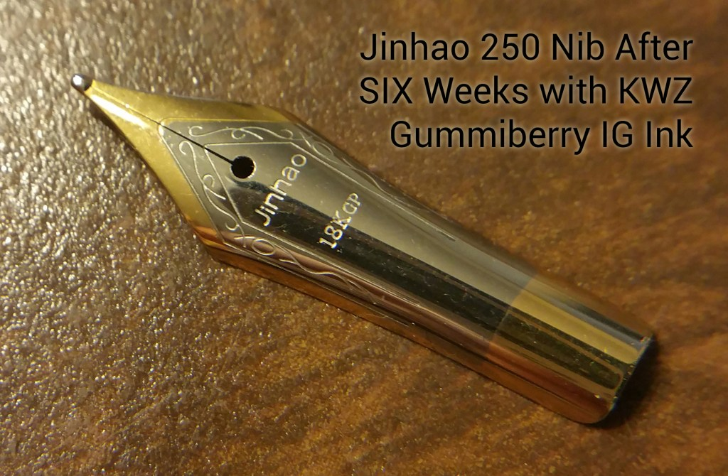 Jinhao 250 Nib after six weeks in contact with KWZ Gummiberry Iron Gall Ink...you'll notice it's perfect.