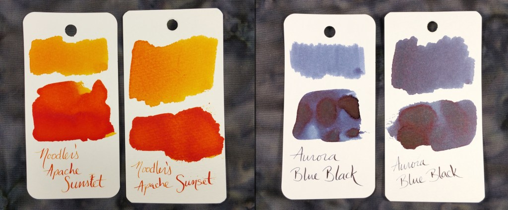 Col-o-ring vs. Maruman Swabs #3: With Noodler's Apache Sunset and Aurora Blue Black inks. In both sets, the Col-o-ring is on the left and the Maruman is on the right.