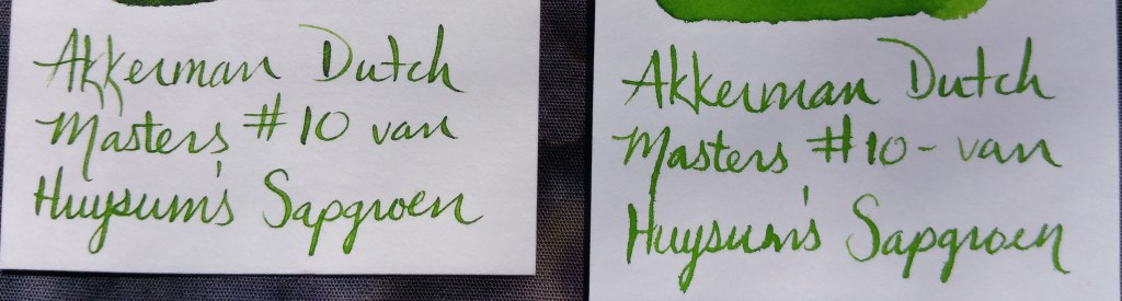 Writing Samples on Kyokutu & Nakabayashi Word Cards using Akkerman Dutch Masters #10, van Huysum's Sapgroen