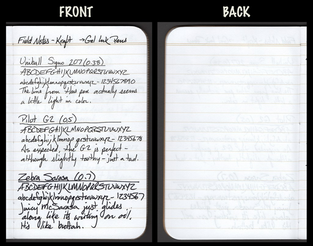 This image shows the front and back of a page in a Field Notes Kraft Notebook, showing writing samples and any effect on the back side of the page. Three gel pens: Uniball Signo 207 (0.38), Pilot G2 (0.5), and Zebra Sarasa (0.7)