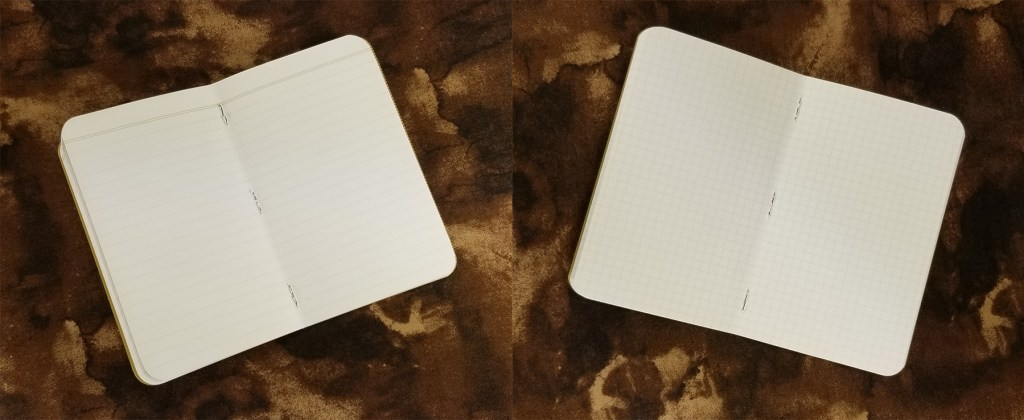 Comparison of the Field Notes Kraft Notebooks rule options: ruled (left) and graph (right).