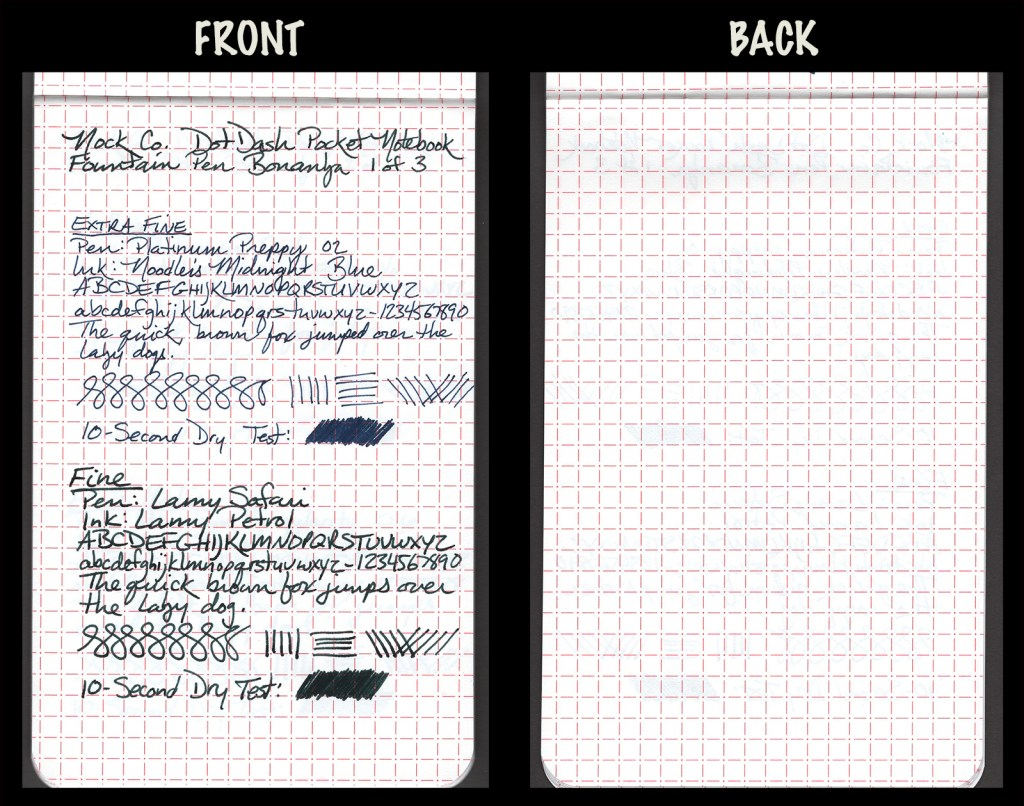 This image shows the front and back of a page in a Nock Co. DotDash Pocket, showing writing samples and any effect on the back side of the page. Two fountain pens: EF Platinum Preppy with Noodler's Midnight Blue ink, and F Lamy Safari with Lamy Petrol ink
