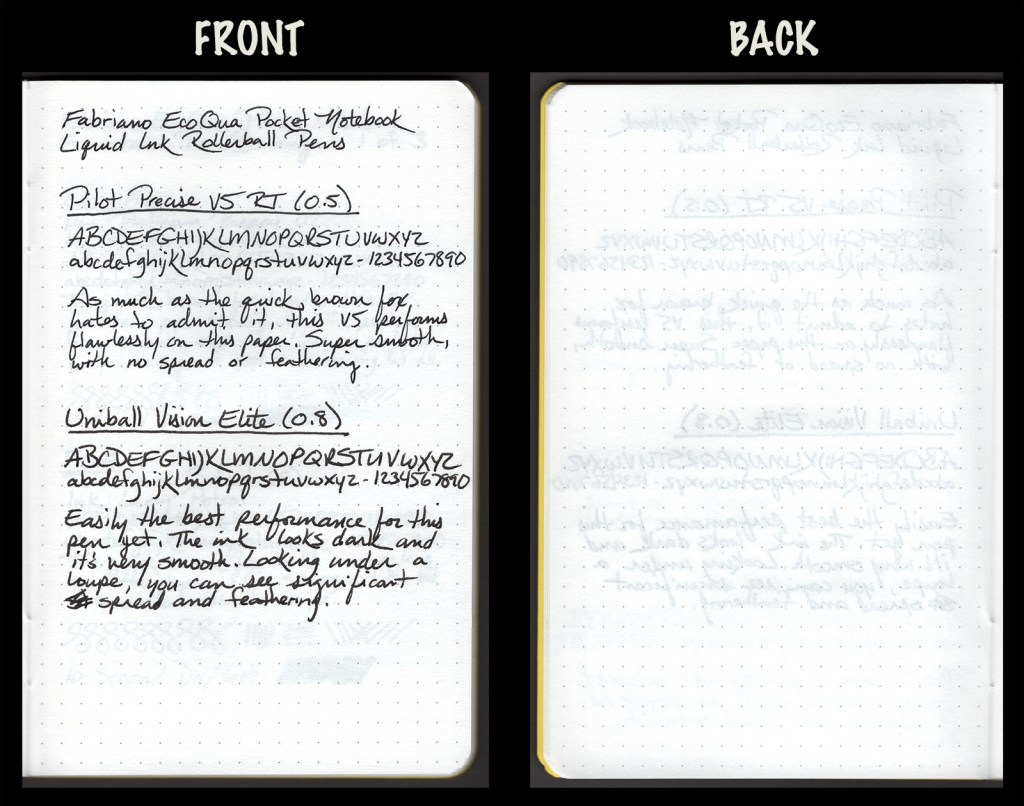 This image shows the front and back of a page in a Fabriano EcoQua Pocket Notebook, showing writing samples and any effect on the back side of the page. Two liquid ink rollerball pens: Pilot Precise V5 RT (0.5) and Uniball Vision Elite (0.8)