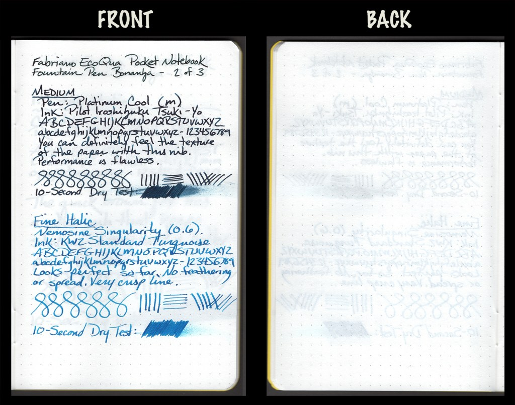 This image shows the front and back of a page in a Fabriano EcoQua Pocket Notebook, showing writing samples and any effect on the back side of the page. Two fountain pens: M Platinum Cool with Pilot Iroshizuku Tsuki-Yo ink, and 0.6mm Nemosine Singularity with KWZ Standard Turquoise ink