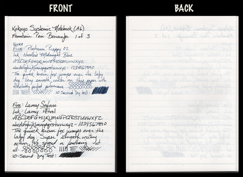 This image shows the front and back of a page in a Kokuyo Systemic A6, showing writing samples and any effect on the back side of the page. Two fountain pens: EF Platinum Preppy with Noodler's Midnight Blue ink, and F Lamy Safari with Lamy Petrol ink