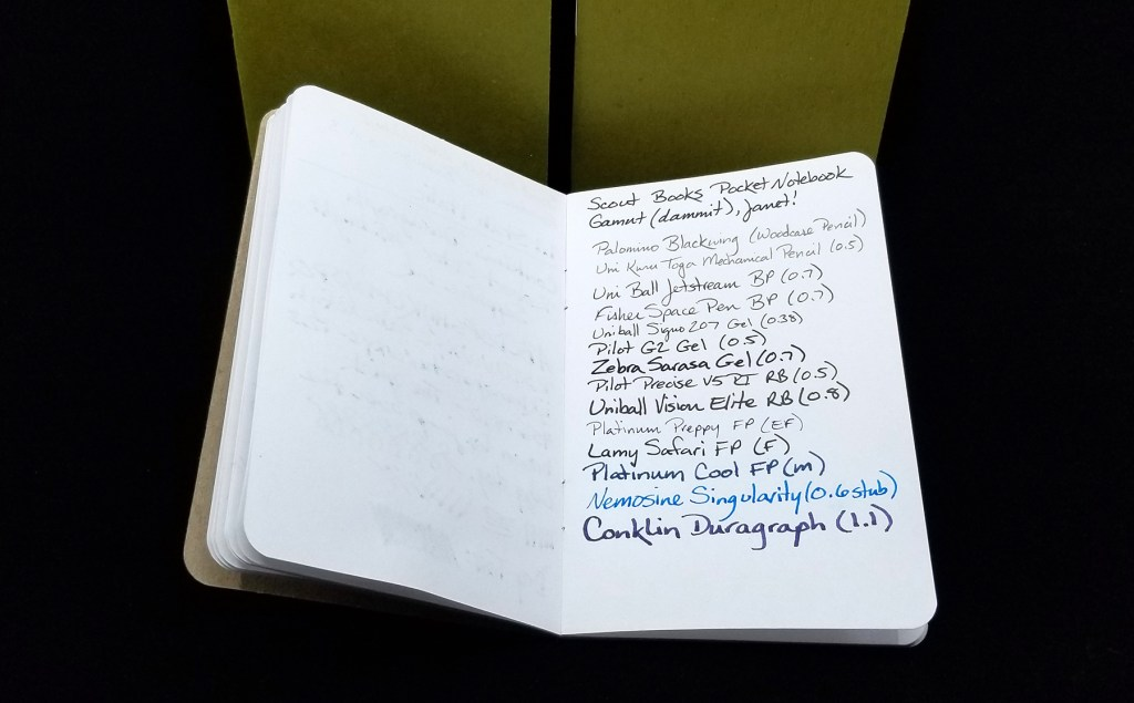 A Scout Books pocket notebook, open, showing the writing of many pens, along with some of the bleedthrough of a seriously wet stub nib