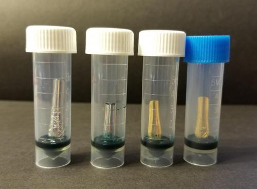 All four nibs (Knox, Pilot, Jowo, Bock) added to the vials of ink. There were 25 drops (approximately 0.5 ml) of ink added to each one.