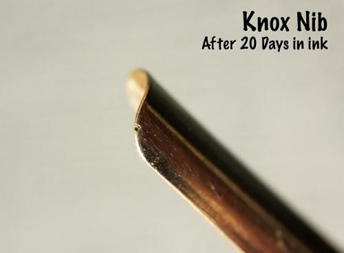 A view of the end of the Knox nib after 20 days in the Aristotle Iron Gall ink. The only blemish on this nib after nearly three weeks of soaking is this one pit. I'm starting to believe the pit was there before I started.