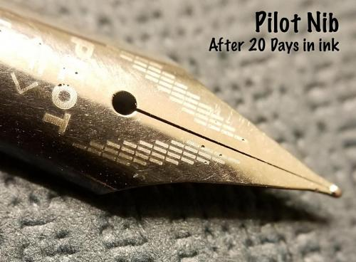 Another top view of the Pilot nib after 20 days in the Aristotle Iron Gall ink. This image shows all the pitting around the Pilot logo, which is engraved/etched into the steel.