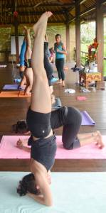 Yes that's me doing headstand on retreat in Bali with my teacher