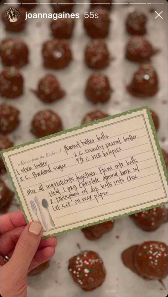 Joanna Gaines shares her Peanut Butter Ball recipe on Instagram