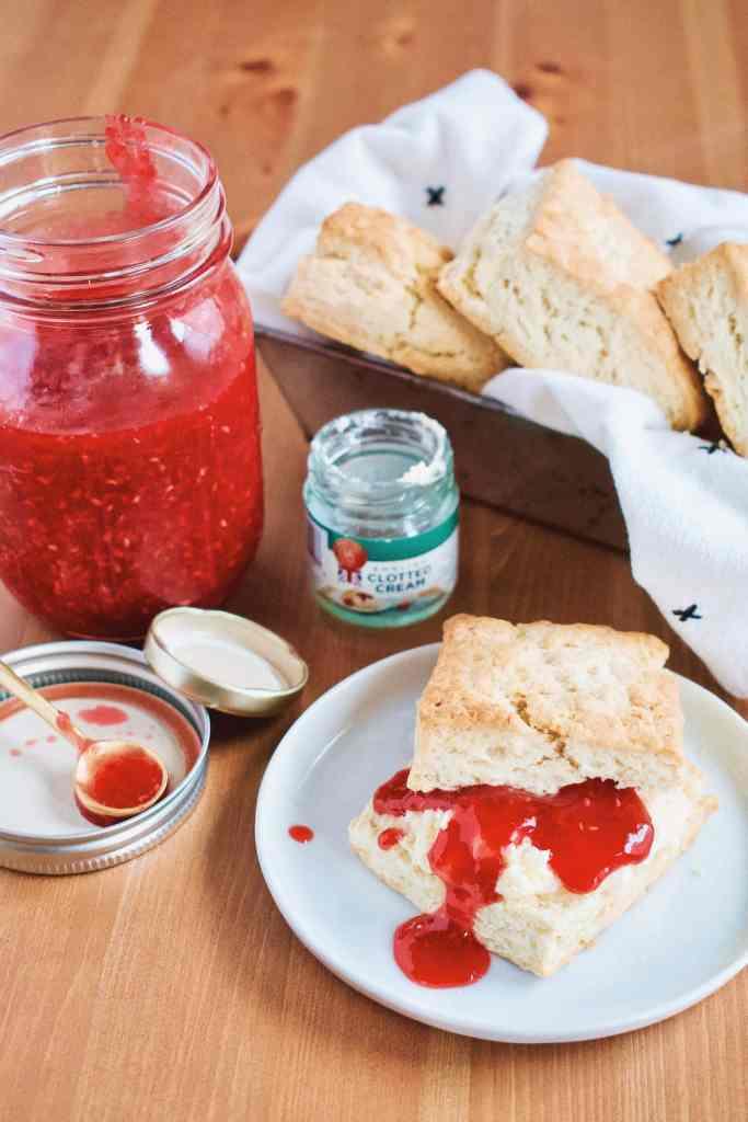 Homemade Raspberry Jam and Irish Scones