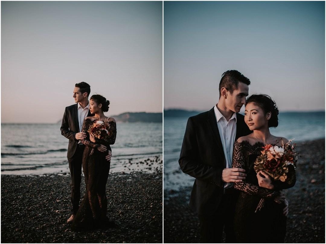beach, beach-wedding, beach-elopement, beach-elopement-photography, elopement-photographer, black-wedding-dress, floral-bouquet, seattle-elopement-photographer, seattle-wedding, seattle-wedding-photographer, sunset-beach, edmonds-washington, bride-and-groom, pacific-northwest,